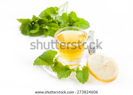 melissa tea in transparent tea cup with slice of lemon and green lemon balm on white background - stock photo