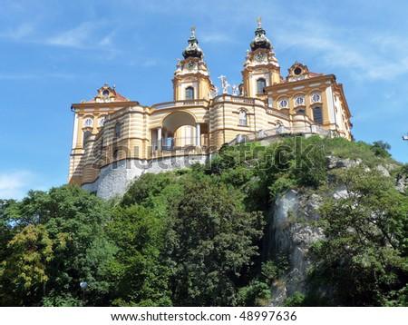 Melk abbey, a famous benedictine monastery in Austria - stock photo