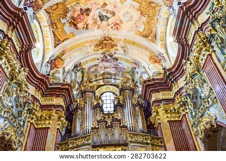 MELK, AUSTRIA - APR 23, 2015: St. Peter and Paul Church in Melk Abbey in Melk, Austria. Abbey Church is considered one of the most beautiful in Austria, built in baroque churches.