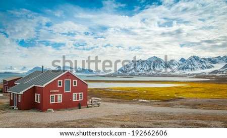 Mellageret Caf�©, Ny Alesund, Svalbard Islands - stock photo