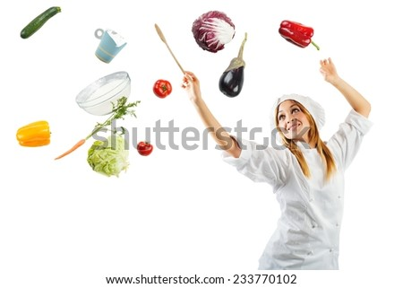 Melody in cooking with a beautiful chef - stock photo