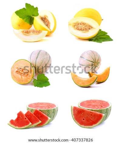 Melon. Water melon and honey melon on white. Melon, melon, melon.Juicy melon collection. Melon set isolated on a white background. Healthy melon fruits. Melon on white. Fresh melon, melon, melon. - stock photo