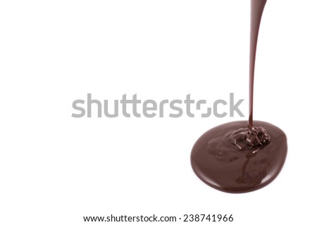 Melted chocolate pouring on the white background - stock photo