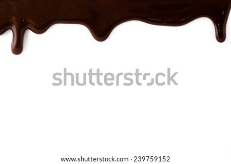 Melted chocolate pouring on the white background