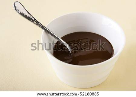 Melted chocolate sauce in a small white bowl with silver spoon.
