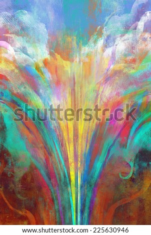 melted coloring rainbow,abstract digital painting - stock photo