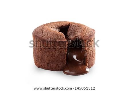 Melting delicious chocolate pudding isolated on white - stock photo