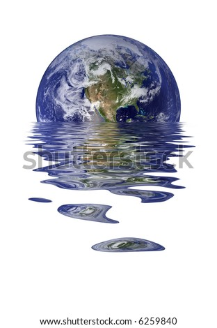 Melting Earth, North America And Pacific, Climate Change Background - stock photo