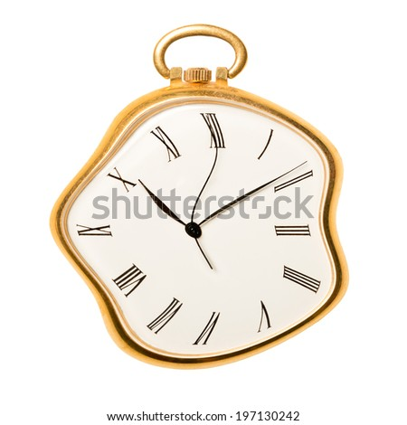 Melting golden pocket watch isolated on white background. Concept of time, past or deadline  - stock photo