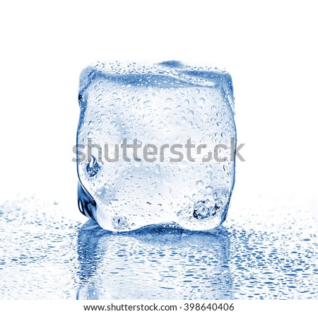 Melting ice cube close-up on a white background. - stock photo