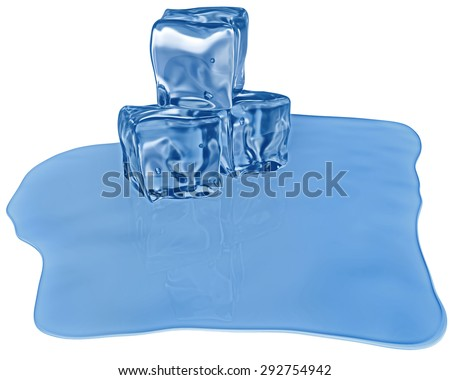 melting ice cubes of a blue shade with air bubbles - stock photo