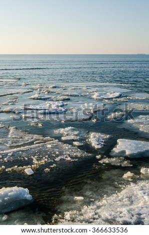 Melting ice floe at the sea