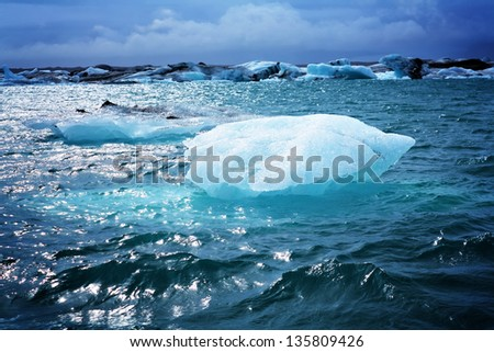Melting iceberg at Jokulsarlon lagoon in Iceland
