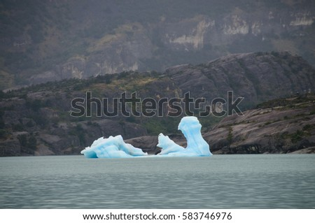 Melting Icebergs on Lago Argentino, near the Estancia Christina, in Patagonia, Argentina.