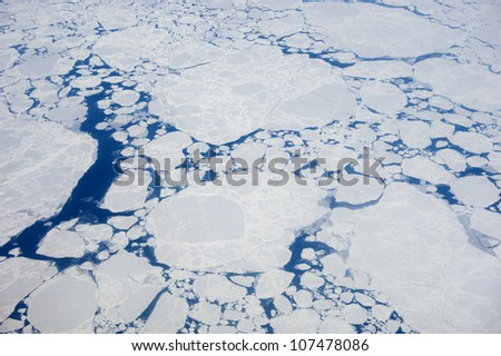 Melting pack ice. - stock photo
