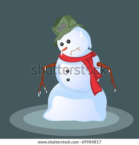 Melting snowman, abstract art background - stock photo