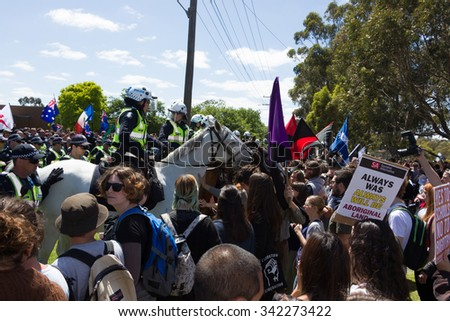 MELTON, VICTORIA/AUSTRALIA - NOVEMBER 2015: Anti Racism protesters violently clashed with reclaim Australia groups rallying against Muslim immigration.