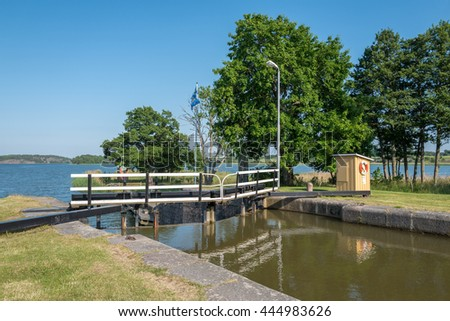 MEM, SWEDEN - JUNE 25: Mem and Gota Canal during midsummer on June 25, 2016 in Sweden. Mem is the gate to Gota Canal from the Baltic sea on the east coast of Sweden.