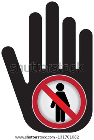 Member Only or No Enter Prohibited Sign Present By Hand With No Enter Sign Inside Isolated on White Background - stock photo