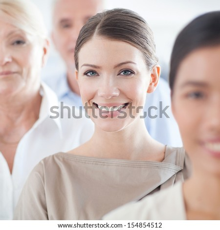 Members of a successful business team in close-up. - stock photo