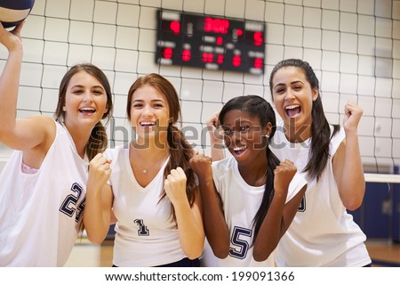 Members Of Female High School Volleyball Team - stock photo