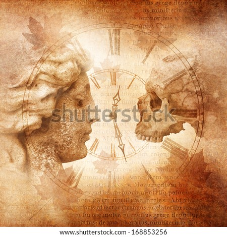 Memento Mori montage with female profile facing skull across an antique clock against a background of weathered Latin script and autumn leaves denoting transience of life, time passing, mortality etc  - stock photo