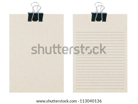 memo notes from recycle paper with black paper clip - stock photo