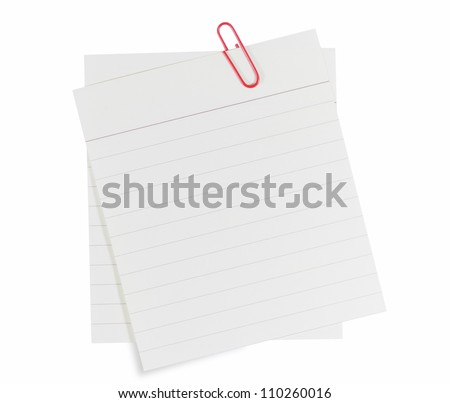 Memo notes with red paper clip - stock photo