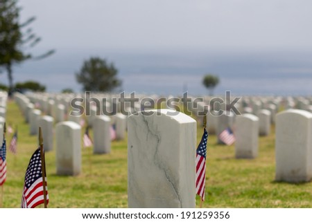 Memorial Day at Fort Rosecrans National Cemetery, Point Loma, CA - stock photo
