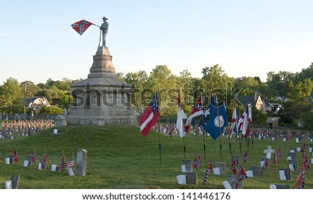 Memorial Day at the Confederate Cemetery - stock photo
