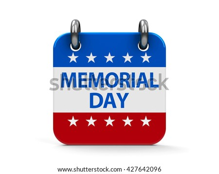 Memorial day calendar icon as american flag, three-dimensional rendering, 3D illustration