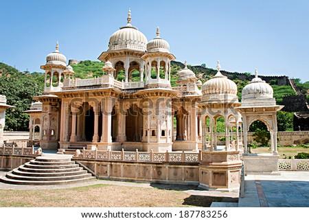 Memorial grounds to Maharaja Sawai Mansingh II and family constructed of marble. Gatore Ki Chhatriyan, Jaipur, Rajasthan, India.  - stock photo