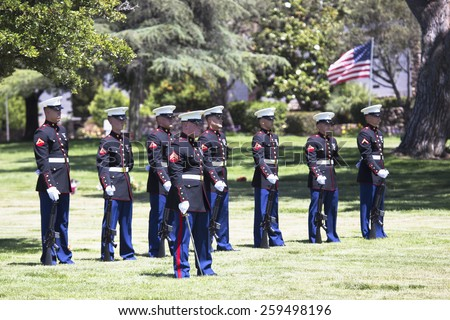 """Memorial Service for fallen US Soldier, PFC Zach Suarez, """"Honor Mission"""" on Highway 23, drive to Memorial Service, Westlake Village, California, USA, 06.19.2014 - stock photo"""