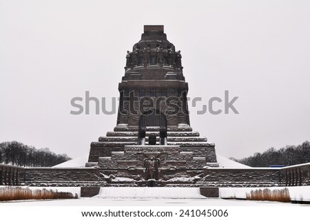 Memorial to the Battle of the Nations in winter, Leipzig,  - stock photo