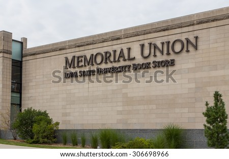 Memorial Union and Iowa State University Bookstore on the campus of the University of Iowa State.