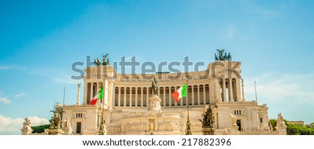 Memorial Vittoriano in Rome. This monumental memorial for king Vittorio Emanuele II with guards was erected by Giuseppe Sacconi 1885 - 1911. - stock photo