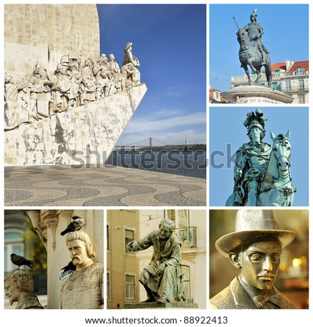 Memorials in Lisbon. Monuments, the capital of Portugal - stock photo