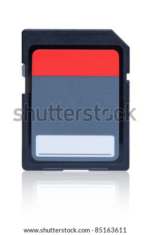 Memory card with reflection on white background. - stock photo
