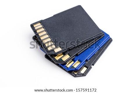 Memory Cards on isolated white background - stock photo