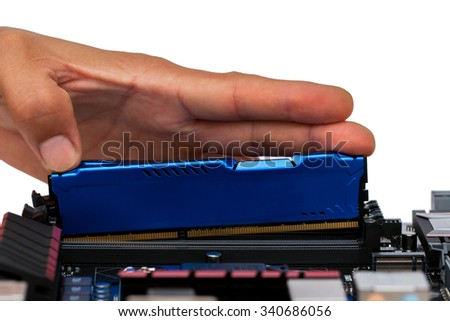 Memory, Chip, Processor,Installing random access memory into PC. On a white background. - stock photo