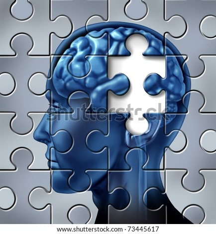 Memory loss and alzheimer's medical symbol represented by a human brain with a missing piece of the puzzle texture. - stock photo