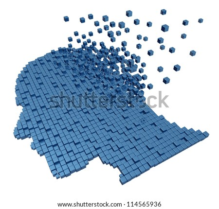 Memory loss due to Dementia and Alzheimer's disease with the medical icon of a group of three dimensional cubes shaped as a human head and brain losing function with the mind disappearing in the air. - stock photo