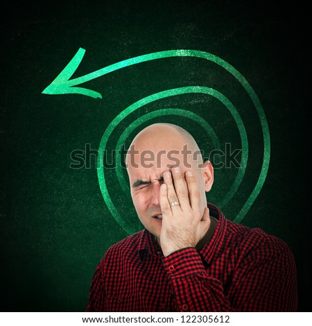 Memory loss, portrait of adult bald man trying to remember something, hand on face.