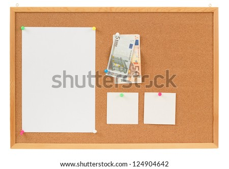 Memory note paper with Euro moneys concept on cork board