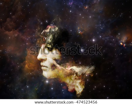 Memory of Me series. Composition of female portrait and space texture  suitable as a backdrop for the projects on art, philosophy and spirituality