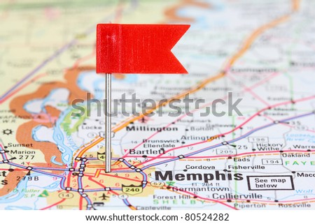 Memphis, Tennessee. Red flag pin on an old map showing travel destination. - stock photo