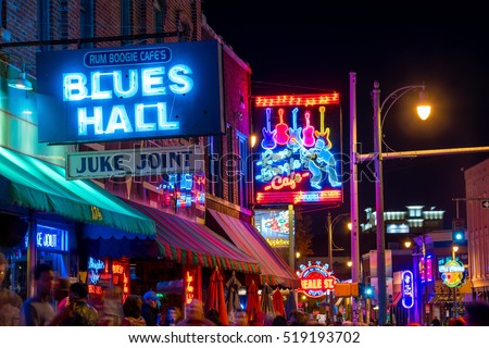 MEMPHIS, USA - NOV 12: Neon signs of famous blues clubs on Beale street on November 12, 2016  Beale street is a place for blues festivals and concerts
