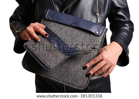 Men accessories. Black elegant accessories pieces. Gentleman's set of stylish covers in hands on white background.