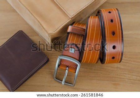 men accessories on wooden background