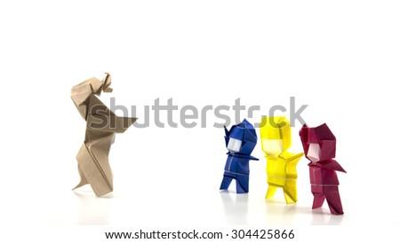 men and dog origami on white background - stock photo